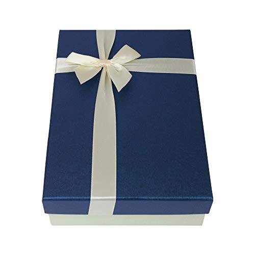 Emartbuy Starre Luxus Präsentierte Geschenkbox in Rechteckform, 24,5 cm · 17 cm · 6,5 cm Texturiert Elfenbein Farbe Box mit blauem Deckel, Innenseite Bedruckt und Satin Zierband
