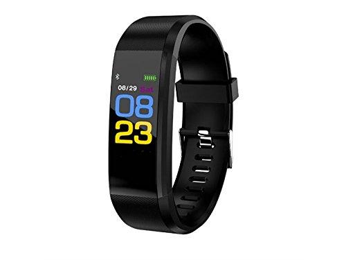 JxucTo Freundlich Einstellbare Farbe Bildschirm Smart Armband Uhr Pulsmesser Schlaf Schrittzähler Fitness Tracker (Schwarz)