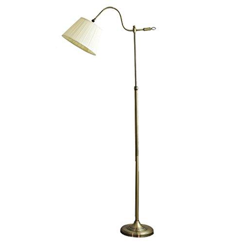 LOFAMI Einfache Boden Stehlampe, einstellbare lesen Angeln Stehlampe, Beige Stoff Schatten E27 Stehlampe für Wohnzimmer, Schlafzimmer, Büro (Messing Antik Boden Leselampen)