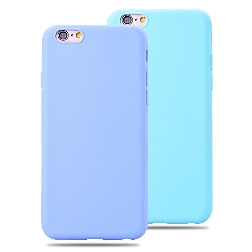 SMARTLEGEND 2x Morbido TPU Cover per iPhone 6 iPhone 6S, Ultra Sottile Durevole Gel Silicone Custodia con Modello di Seta, Candy Color Protettiva Back Case Copertura - Colore Porpora + Blu