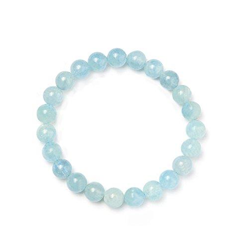 edelstein aquamarin SUNNYCLUE Echte Edelsteine Ocean Blau Aquamarin Armband Stretch Perlen rund 8 mm über 7