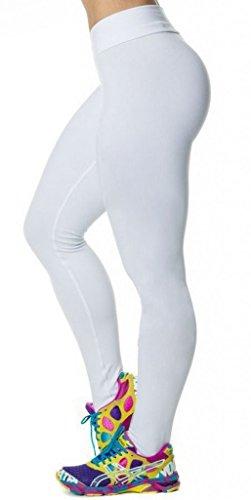 Smile YKK Legging Minceur Femme Sexy Collant Fantaisie Pantalon Slime Elastique Imprimé Blanc