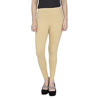 Anekaant Women's Cotton Lycra Ankle Length Leggings, Free Size(Beige, ADAL109)