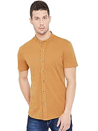 GRITSTONES Men Chinese Collar Regular Fit Casual Shirt (GSHSSHT1643_1)
