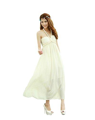 BOMOVO Damen Sommer Sexy Ohne Arm V-Ausschnitt Strandkleid Ballkleid Abendkleid Midi Kleid Aprikose