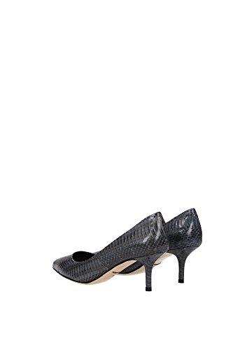 C18559A833880721 Dolce&Gabbana Talon Femme Cuir de Serpent Gris Gris