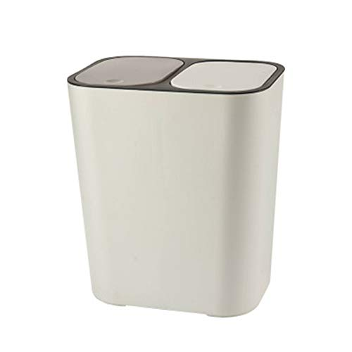 Wodeni Trash Can Rectangle Plastic Push-Button Dual Compartment 12liter Recycling Waste Bin Garbage Can
