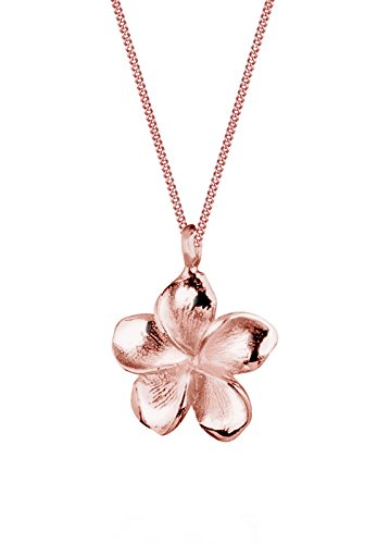 Elli Damen Schmuck Halskette Kette mit Anhänger Frangipani Blume Filigran Silber 925 Rosé Vergoldet Länge 45 cm