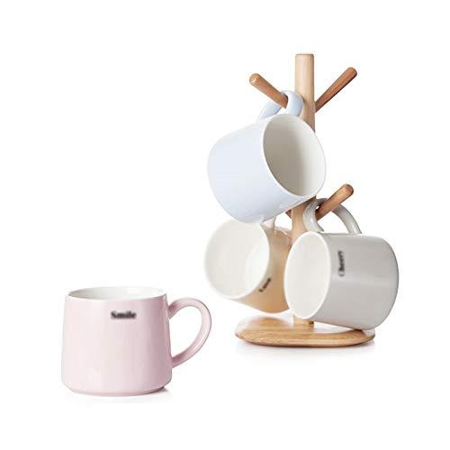 Keramikbecher-Set mit Holzständer Tasse * 4 Milchbecher Tasse Kaffeetasse Teetasse Reine Farbe Prismenbecher (Color : B*4)