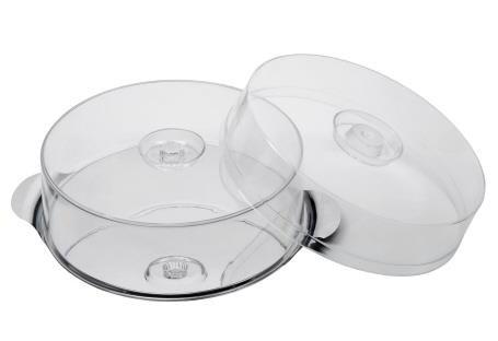 APS Tortenplatte mit 2 Hauben Durchmesser 30cm, Haubenhöhen 7 und 10cm Edelstahl mit Produkteinleger
