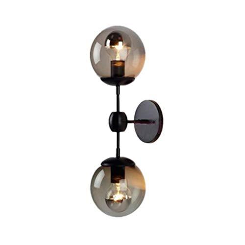 ZMYLOVE Transparenter Glaslampenschirm der Retro industriellen modernen Doppelwandlampencafébar-Wandleuchte,XS -