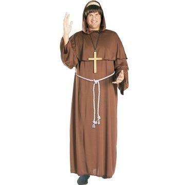 Friar Tuck Mönch Kostüm. Erwachsene Größe Extra Large. Brustumfang 42-46. Perücke, Kleid und Gürtel.