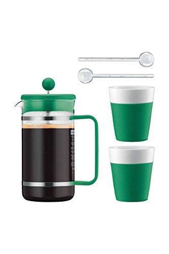 Bodum Kaffeeset Bistro - 6-teilig - 1,0l Kaffeebereiter mit 2 0,3l Porzellantassen und 2 Löffel - Farbe grün - AK1508-XY-Y15-10