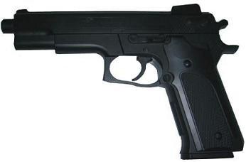 Double Eagle M24 Airsoft Spring/Federdruck Pistole in Schwarz, Nachbildung des CZ85 Kampfstil Pistole, unter 0.5 Joules, No Hop up, GRATIS 2000 BULLDOG BBS 0.20G