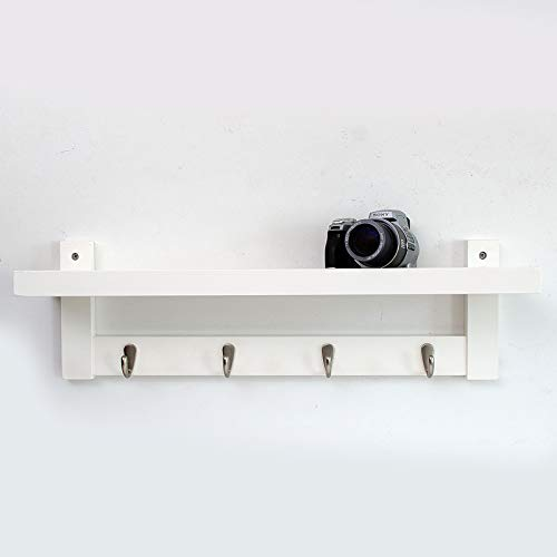 Elegant Wooden Coat & Hat Rack with Shelf and Cast Iron Hooks White / 4 Hook 61x12x18cm - Keller-storage-shelf