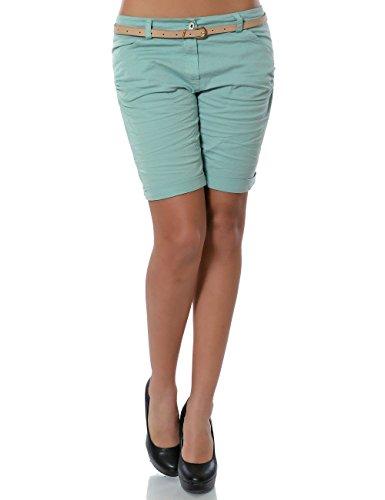 Damen Shorts Chino Kurze Hose inkl. Gürtel (weitere Farben) No 13908, Farbe:Mintgrün;Größe:42 / XL