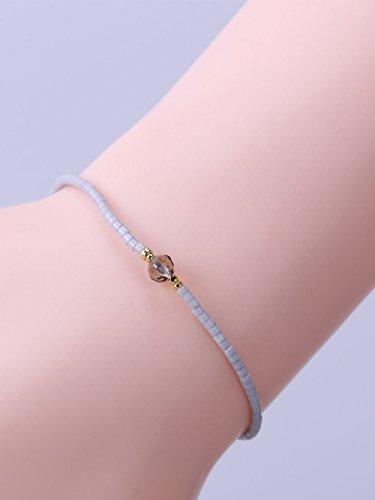 KELITCH Armband Grau Rocailles Perlen Zart Schnur Freundschaftsarmbänder mit Grau Kristall