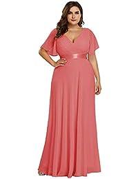 228a22ff23b Ever-Pretty Robe de Soirée Longue Femme Double Col V Manche Courte Grande  Taille