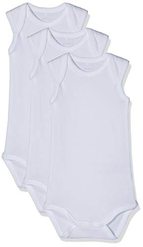 NAME IT Unisex Baby Strampler NBNBODY 3P Tank SOLID White NOOS, 3er Pack, Weiß (Weiß Bright White), 98