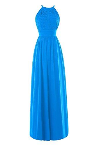 Fanciest Women' Halter Chiffon Lang Brautjungfernkleideres Evening Formelle Kleid Gelb Blue