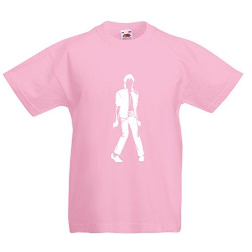 lepni.me Kinder Jungen/Mädchen T-Shirt Ich Liebe M J - King of Pop, 80er Jahre, 90er Jahre Musical Shirt, Partykleidung (5-6 Years Pink Weiß)