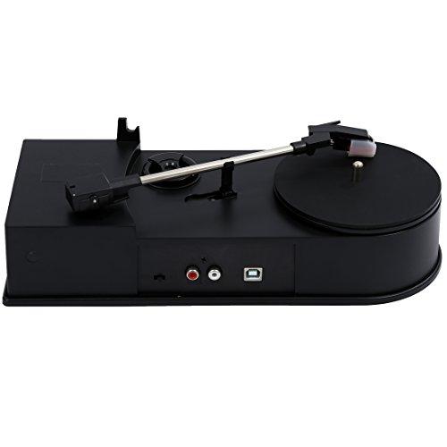 SODIAL(R) mini USB Giradiscos Vinilo LP a MP3 grabadora USB giratorio digital reproductor de vinilo LP a MP3 Conversor - Negro