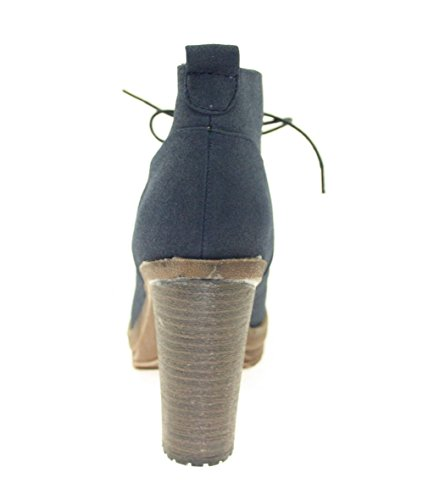 Kurz-Stiefeletten Damenschuhe Farbe Blau zum Schnüren Blau