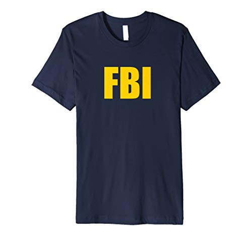 FBI Agent Funny Halloween-Kostüm Navy Gold T-Shirt