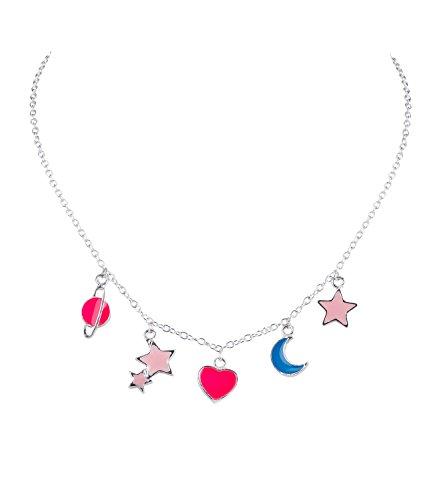 (SIX Kids Kinder Schmuck, Halskette, Mond, Stern, Planeten, Herz Anhänger, Nachtleuchtend, Selbstleuchtend, türkis, rosa, pink, Silber (297-651))