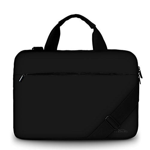 Luxburg® Design Gepolsterte Business- / Laptoptasche Notebooktasche bis 15,6 Zoll mit Schultergurt, Mehrzwecktasche, Motiv: Schwarz