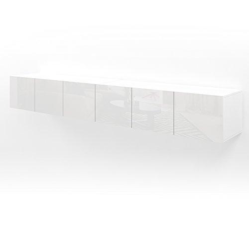 VICCO TV Lowboard Sideboard Wandschrank Fernsehschrank Wohnwand Hängeschrank (Weiß Hochglanz, 240cm)
