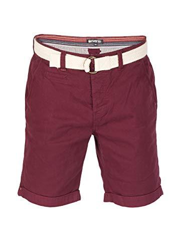 riverso Herren Chino Shorts Henry Mit Gürtel Bermuda Kurze Hose - hellblau - dunkelblau - rot - grün, Größe:W 42, Farbe:Wine Red (15400) - Grüne Jeans-shorts