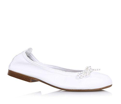ELI - Ballerina bianca in pelle, prodotta artigianalmente in Spagna, adatta per le occasioni di cerimonia, Bambina, Ragazza, Donna-38