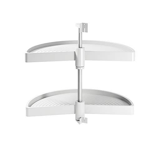 Emuca - Schwenkbeschlag mit Tablarboden für Küche Eckschrank, drehbeschlag halbkreis von Ø750mm für Eckschrank mit Breite 900mm, Weiß