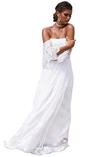 dressvip Abito da sposa di Pizzo bohemien Stile Beach Lungo per Matrimonio  con Spalline Senza Spalline 40d57b584e1