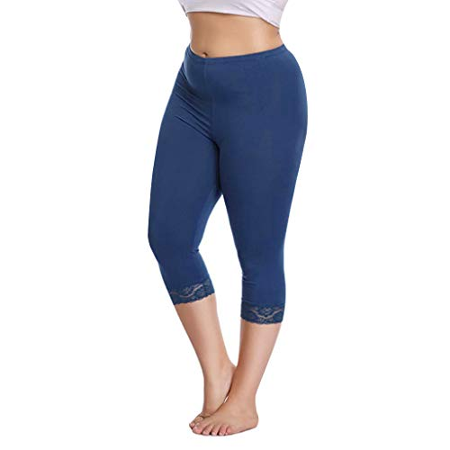 Lace Kostüm Cropped - Setsail Damen Plus Size Mode Hosen Capri Cropped Leggings Stretch Lace Trim weiche Strumpfhosen Hosen