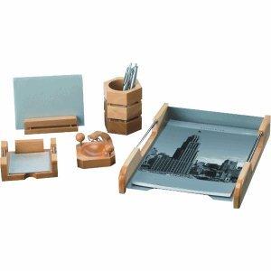 Rumold Schreibtisch-Set 5 Teilig/965700 Naturholz/Silber