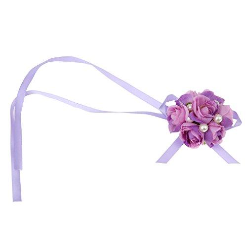 LOVIVER Corsage Handgelenk Stoff Band Hand Blumen Blumen Armband Hochzeit Prom Dekoration - Lila, 80cm