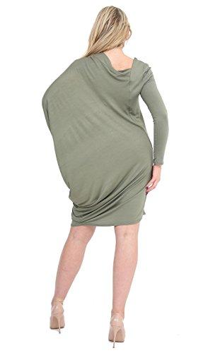 Momo&Ayat Fashions Mesdames Jersey UNE Épaule Latérale Ruché Manches Chauve-Souris Top EUR Taille 36-54 Kaki