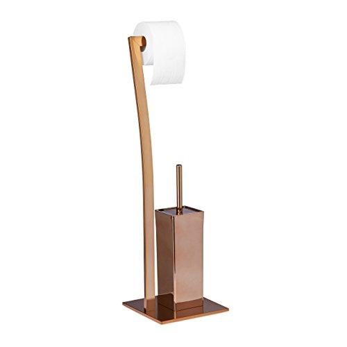 Relaxdays Stand WC Garnitur WIMEDO eckig HBT: 71 x 20 x 20 cm Toilettenbürstenhalter aus Edelstahl mit Lackierung Toilettenpapierhalter und Klorollenhalter als freistehende WC Bürstengarnitur, kupfer