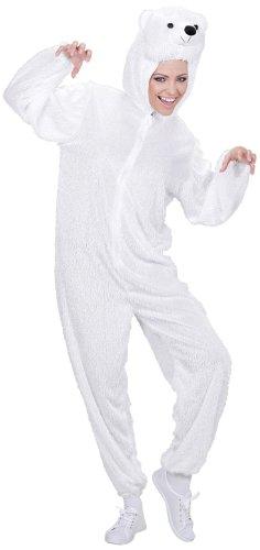 Für Erwachsene Eisbär Kostüm - Widmann 9955A - Erwachsenenkostüm Eisbär, Overall mit Maske, Größe M