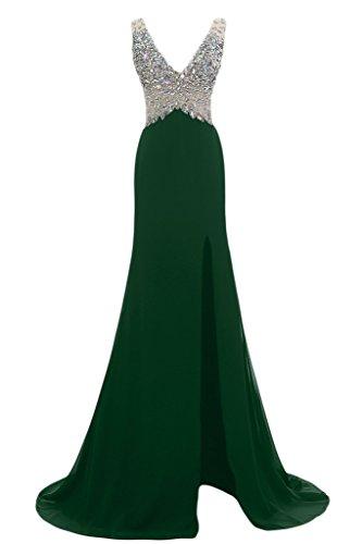 Ivydressing Damen Liebling Steine V-Ausschnitt Schlitz Rueckenfrei Lang Promkleid Partykleid Abendkleid Grün