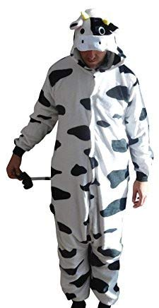GW Handels UG Flannel Kostüm Kuh Damen Herren Kinder Karnevalskostüm Faschingskostüm Verkleidung Fleece Overall Erwachsene Größe XL