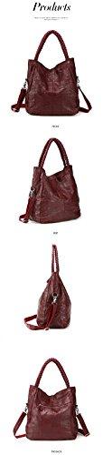 LQT Damen Handtasche Retro-Stil, groß, Echtleder, Schulter- oder Umhängetasche, Schwarz Black Small