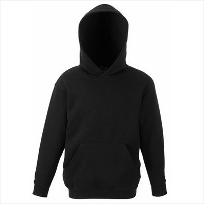 Fruit of the Loom - Classic Kinder Kapuzen-Sweatshirt 'Kids Hooded Sweat' 152,Black