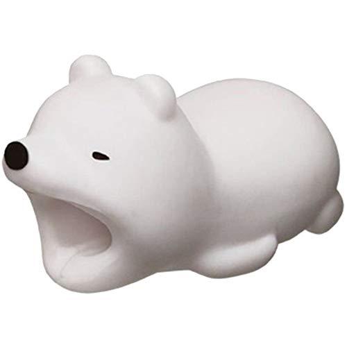 osmanthusFrag Kabelschutz Cord Halter Saver Organizer Dekor Schöne Cartoon Tierform für Handy White Bear