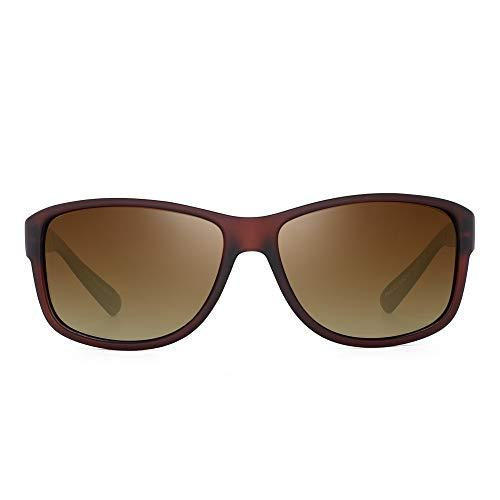 JIM HALO Polarisiert Fahren Sonnenbrille Klassisch Federscharnier Sonne Brille Herren UV400(Brauner Rahmen/Polarisierte Braune Linse)