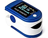 Finger Pulsoximeter & Herzfrequenzmesser mit Lanyard & Fall, dunkelblau