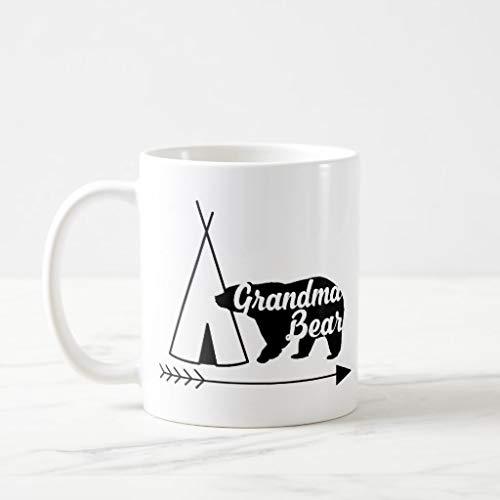 White Mugs White Ceramic Glossy Coffee Mug Grandma Bear Black White Tipi Indian Tent Arrow Coffee Mug