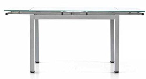 Montefioredesign Mago Table extensible avec structure en fer gris laqué et plateau en verre